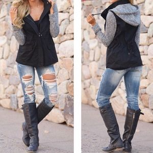 Black and Gray Hooded Utility Jacket